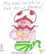 The Watermelon Pants genie really wants a wardrobe upgrade.