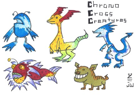 A collection of creatures from Chrono Cross. Clockwise from top left: a Beach Bum, a Komodo Pup, a Sandsquirt, a Bubba Dingo, and an Opah Fish.