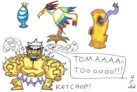 Some more enemies. Top row: a Potpourri, a Dodo, and a Drongo. Bottow row: everyone's favorite hulking giant dragoon, Ketchop! TOMAAAATOOOOOO!!!