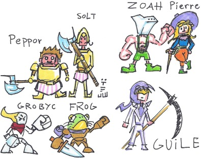 Some more NPC's from Chrono Cross (well, except for Frog). ZOAH here actually has more clothes on than he does in the game, if you can believe it.