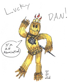 Why, if it isn't our favorite unholy creation, the lucky voodoo doll Mojo! I mean Lucky Dan! He's the best dancer in the whole game!